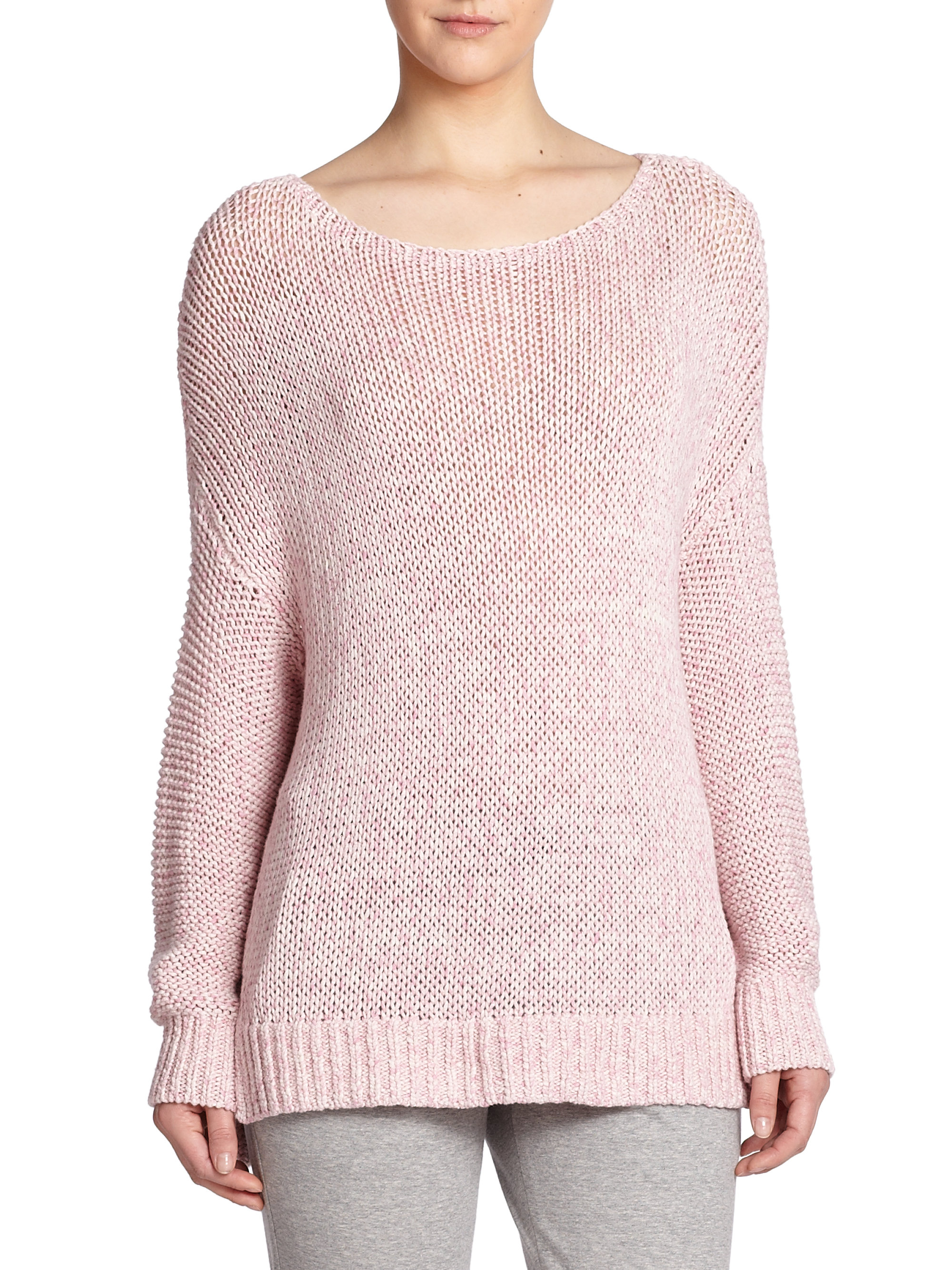 Vince Slouched Cotton Sweater in Pink | Lyst