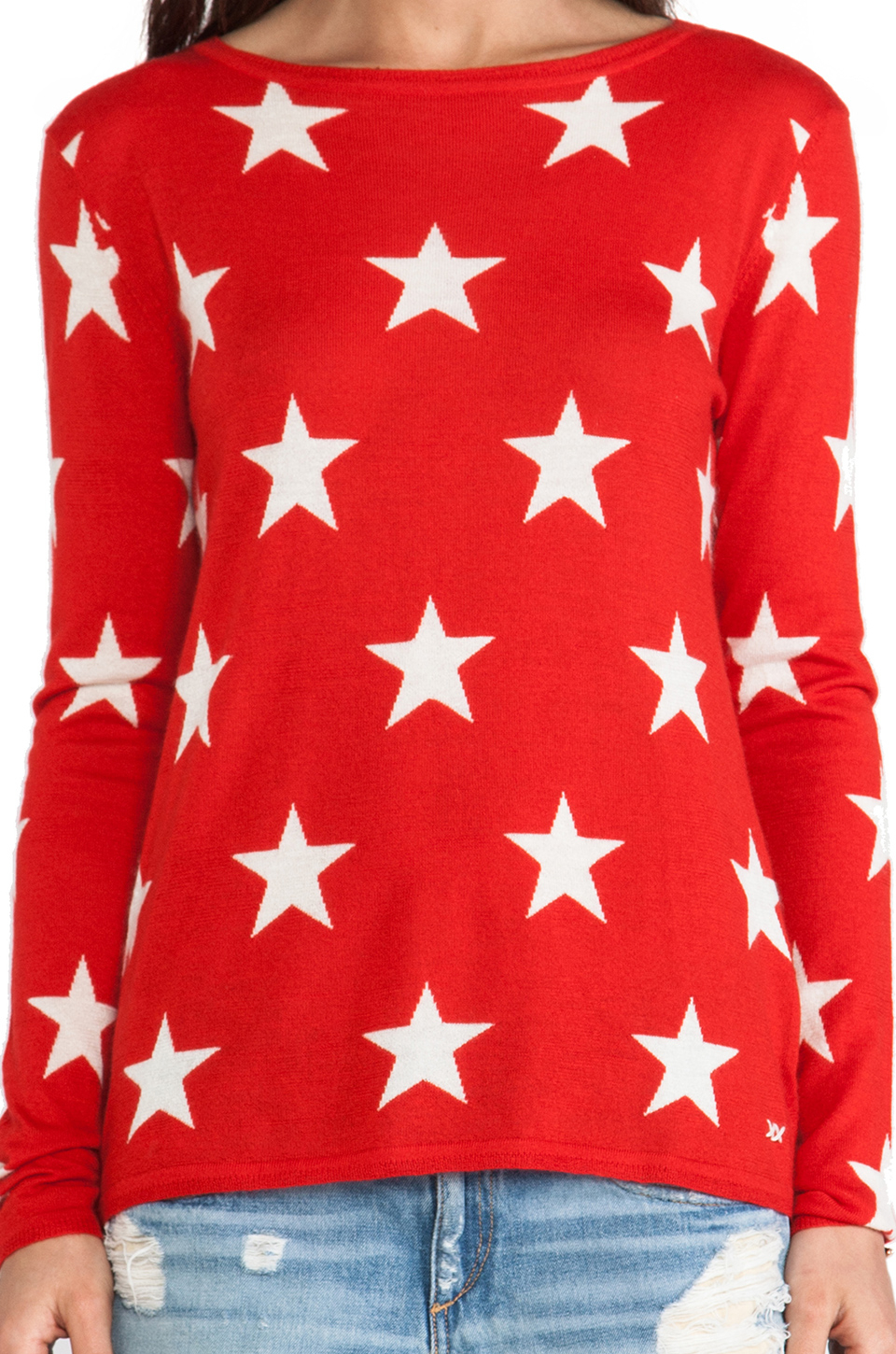 Banjo & matilda Star Crew Sweater in Red | Lyst