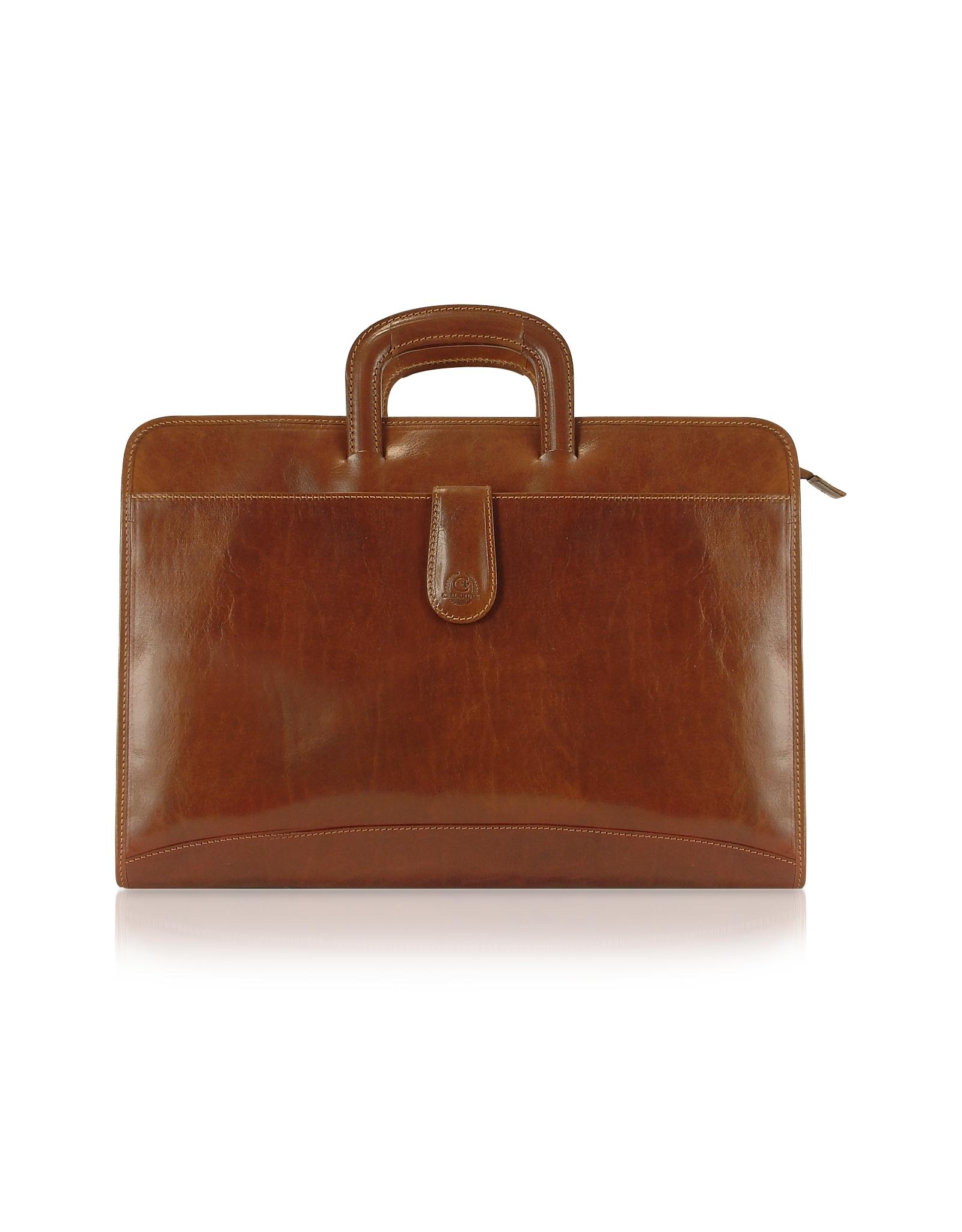chiarugi handmade brown genuine italian leather portfolio