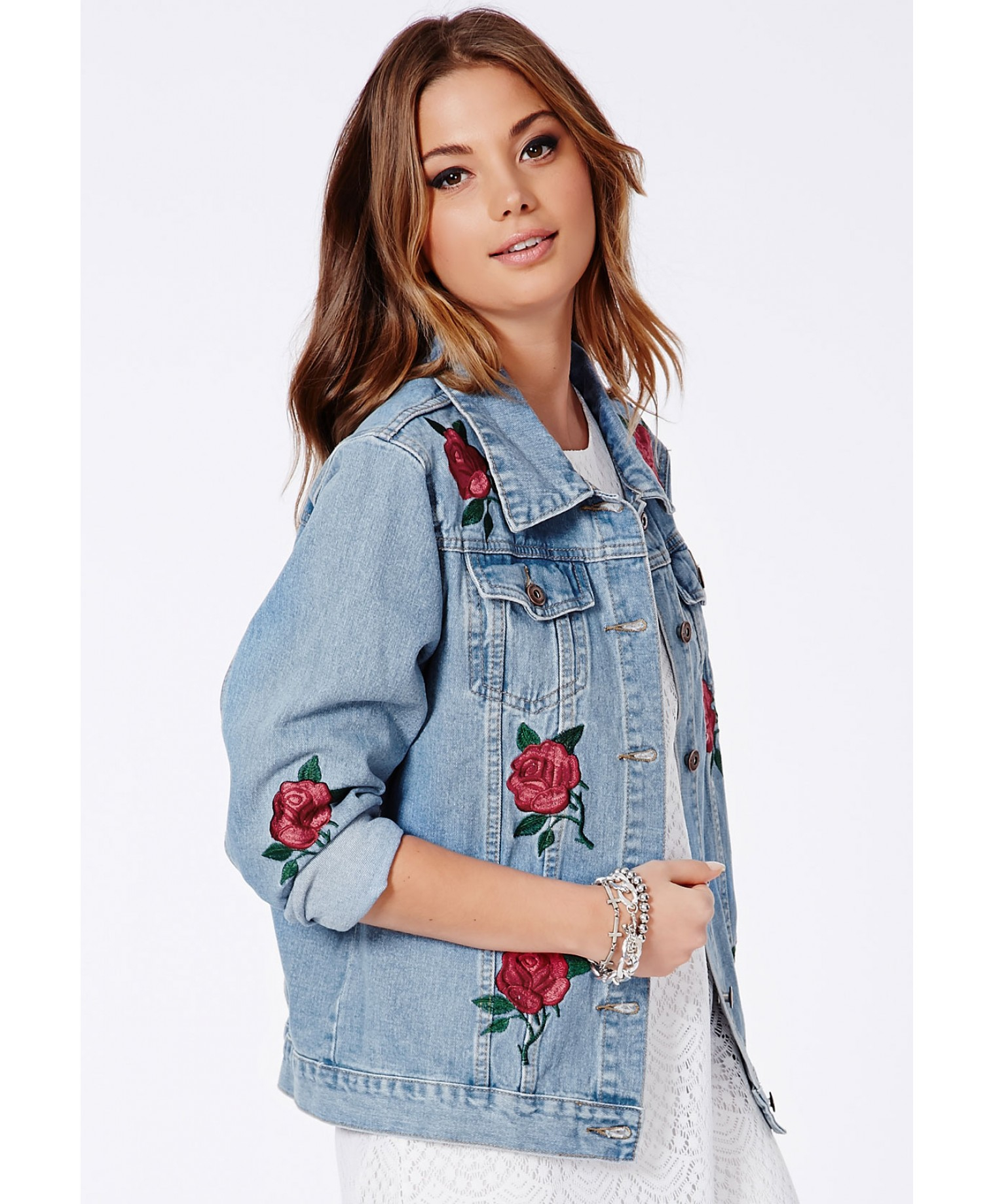 Missguided Caresa Rose Embroidered Denim Jacket In Blue  Lyst