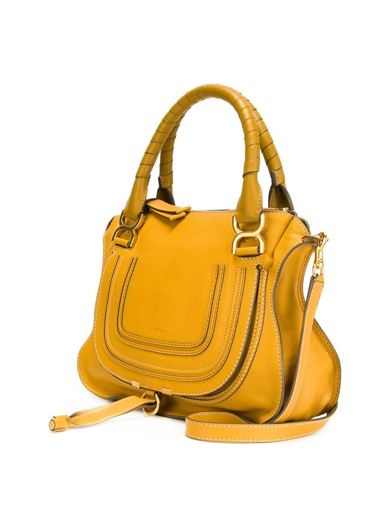 Chloé Marcie Leather Tote in Yellow & Orange (Yellow)