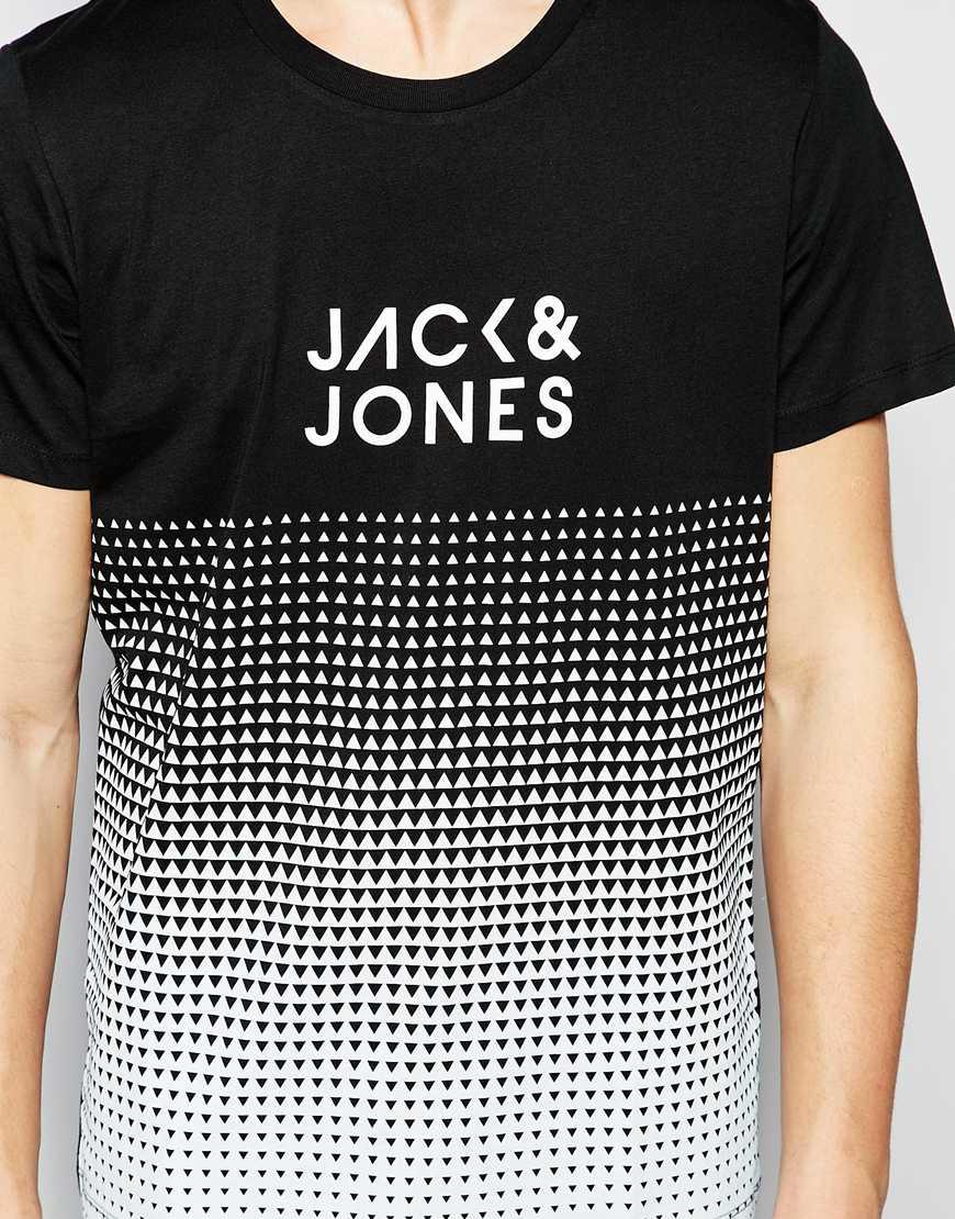 jack jones t shirt with fade print in black for men lyst. Black Bedroom Furniture Sets. Home Design Ideas