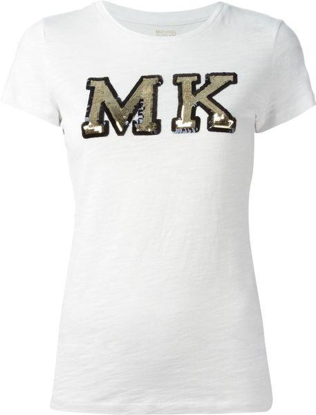 michael michael kors sequin logo t shirt in white lyst. Black Bedroom Furniture Sets. Home Design Ideas