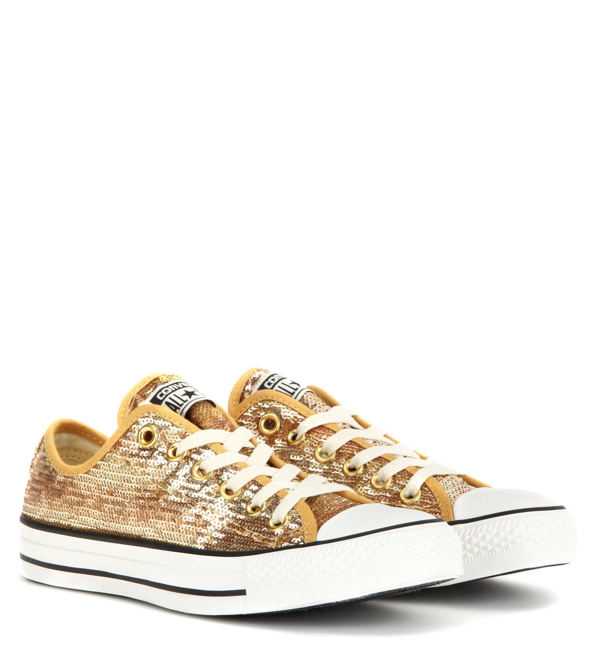 sale retailer b2e15 96987 Converse Chuck Taylor All Star Sequin Sneakers in Gold/White ...