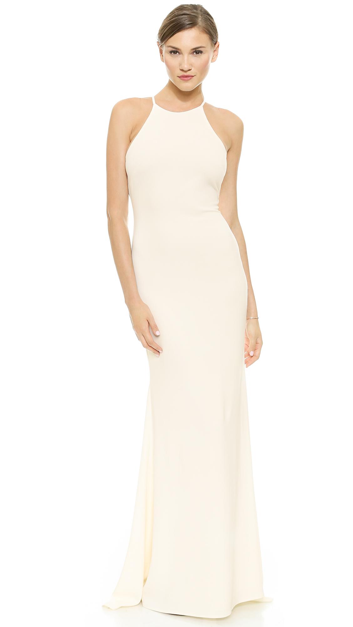 Lyst Badgley Mischka Halter Odessa Gown Ivory In White