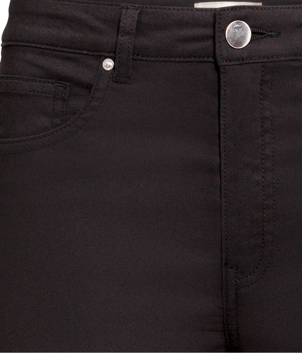 H&M Cotton Superstretch Trousers Bootcut in Black