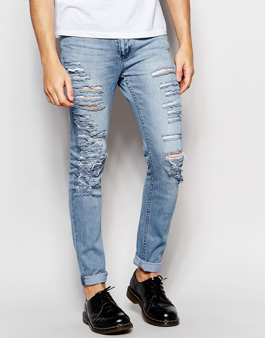 Cheap monday Tight Slash Skinny Jeans Stretch Stonewash ...