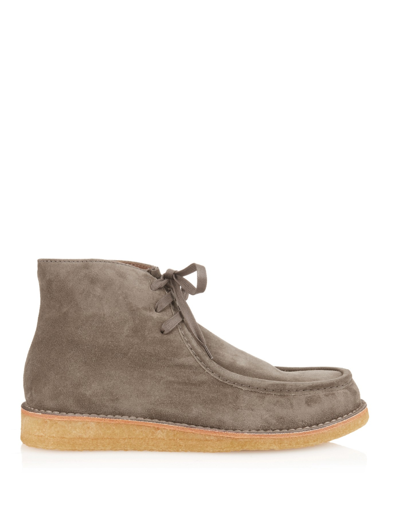 tomas maier lace up suede boots in gray for lyst