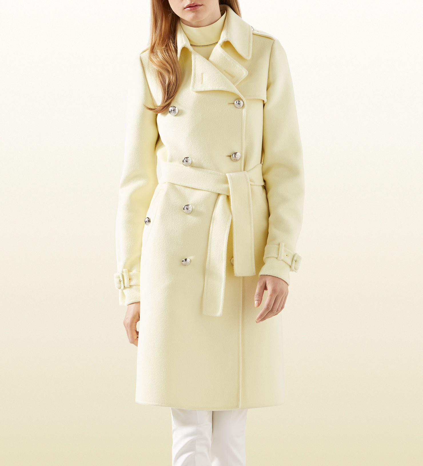Reversible Double Faced Yellow/Beige Wool Coat, provides 2 pastels for a lighter looking outfit, while marrying warmth and comfort with utility.