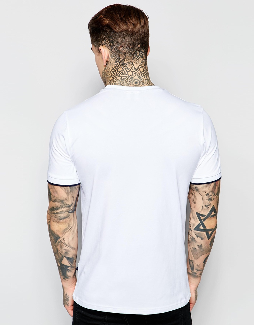 67b6a9f8 Ellesse White T-shirt With Small Retro Logo Ribbed Sleeves for men