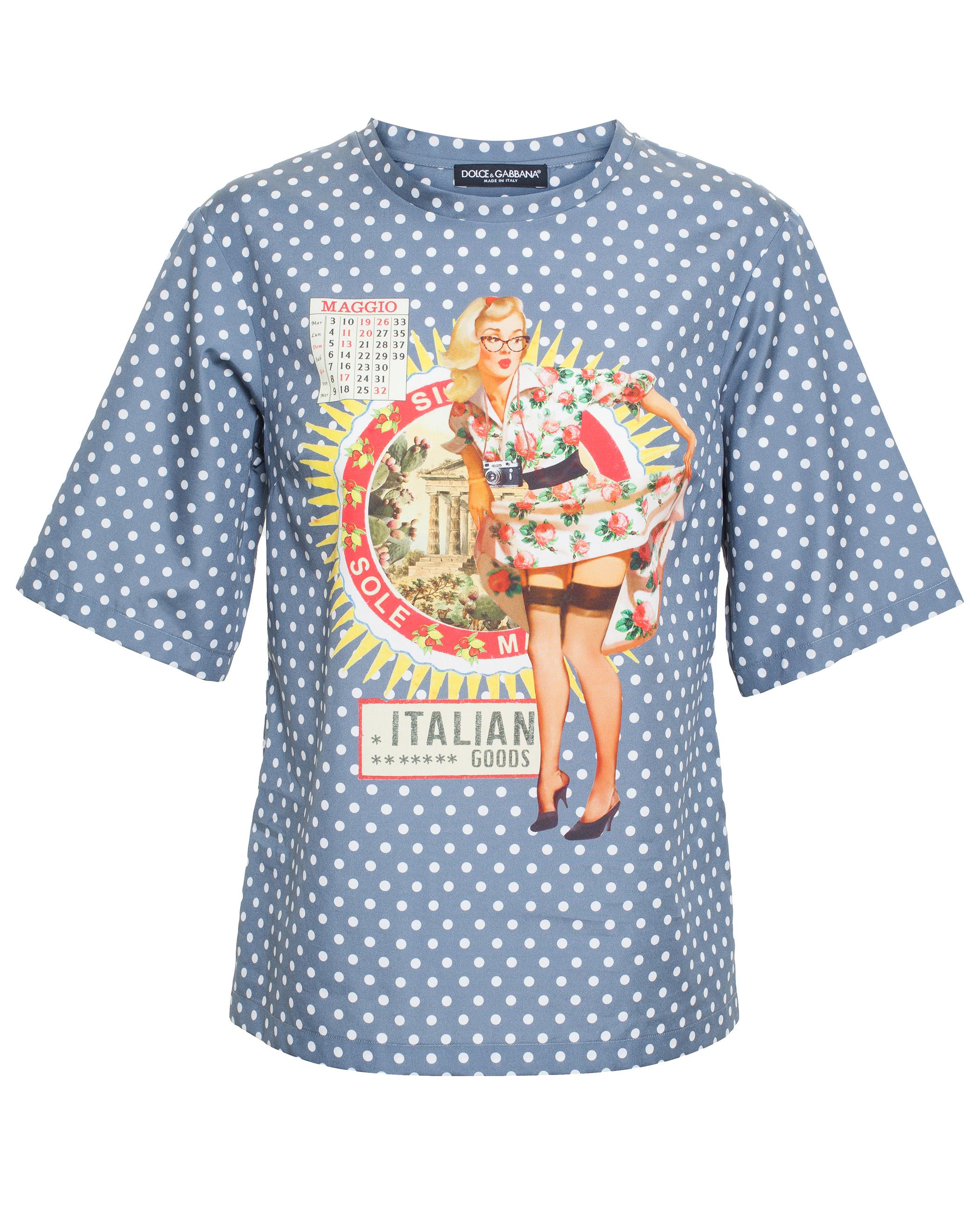 Lyst dolce gabbana dolce vita print t shirt in blue for Dolce gabbana t shirt women
