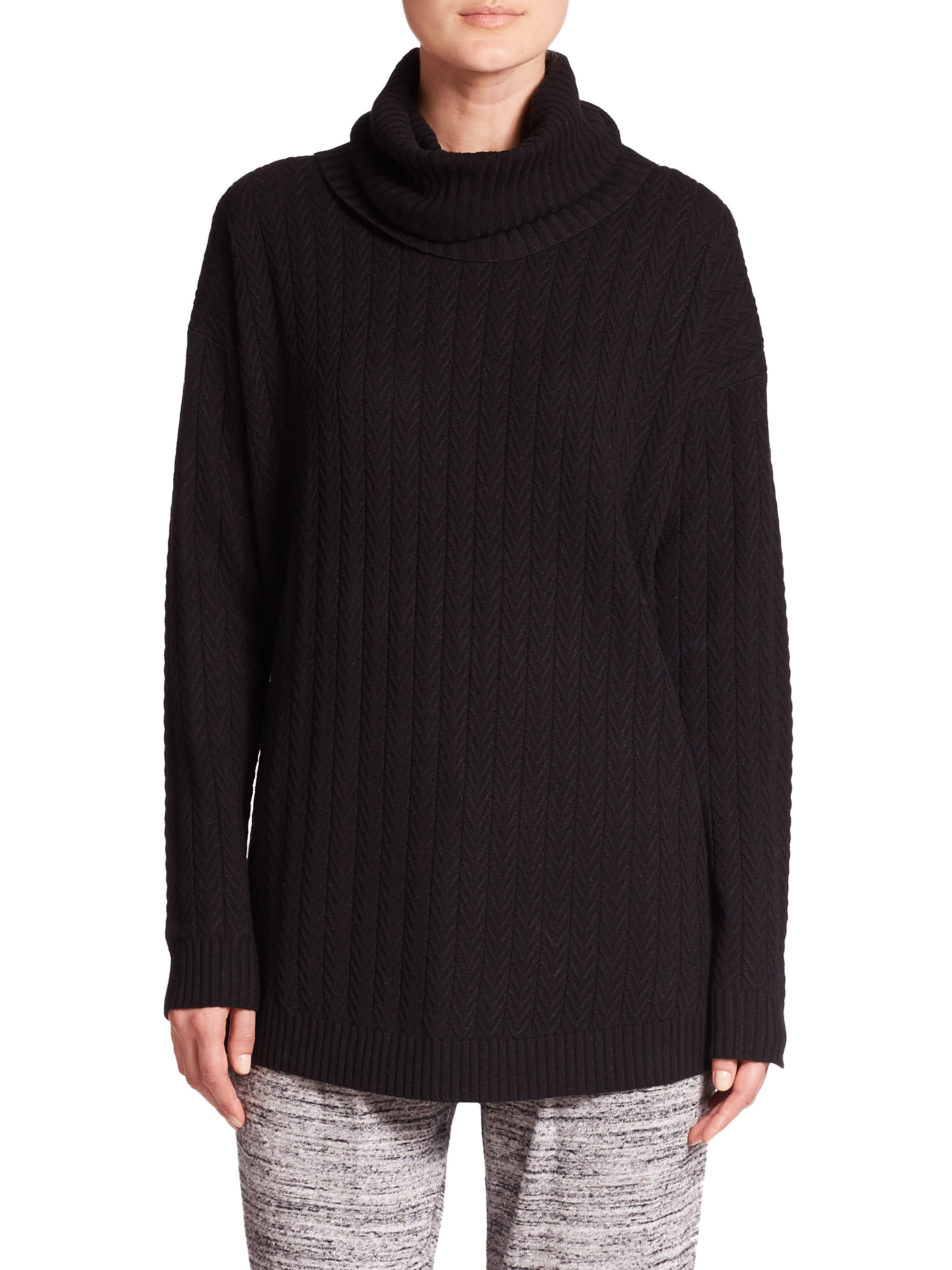 Three Dots Cable Knit Cashmere Silk Tunic Sweater In Black