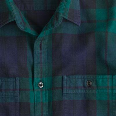 Slim herringbone flannel shirt in black watch plaid for Black watch flannel shirt