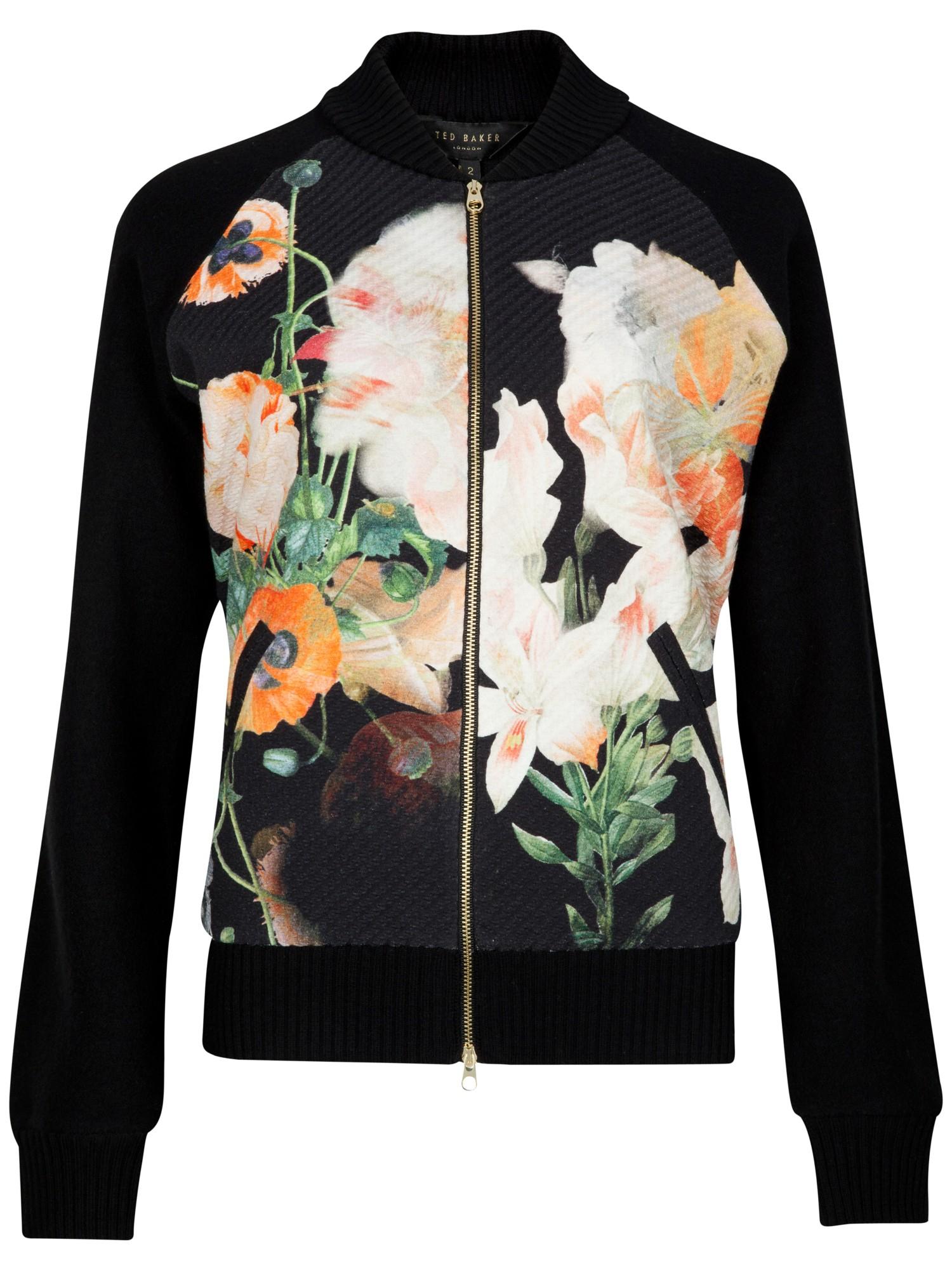 Ted Baker Opulent Bloom Bomber Jacket In Multicolor Black