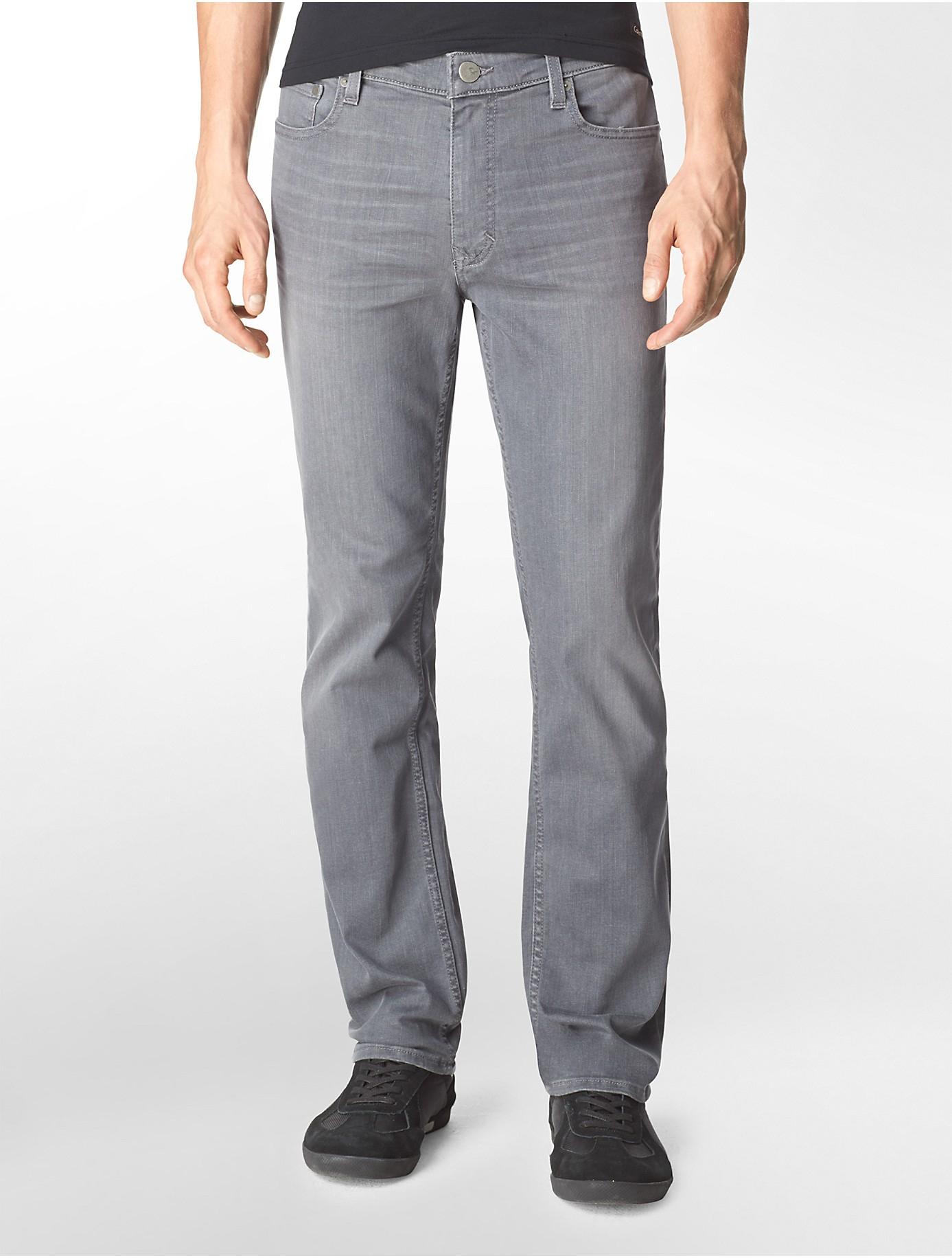 calvin klein jeans slim straight leg grey wash jeans in. Black Bedroom Furniture Sets. Home Design Ideas