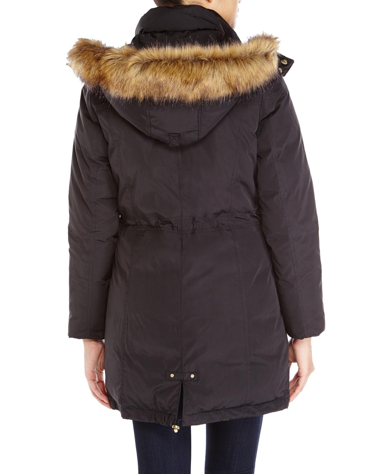 Cole Haan Faux Fur Trim Hooded Down Parka In Black Lyst