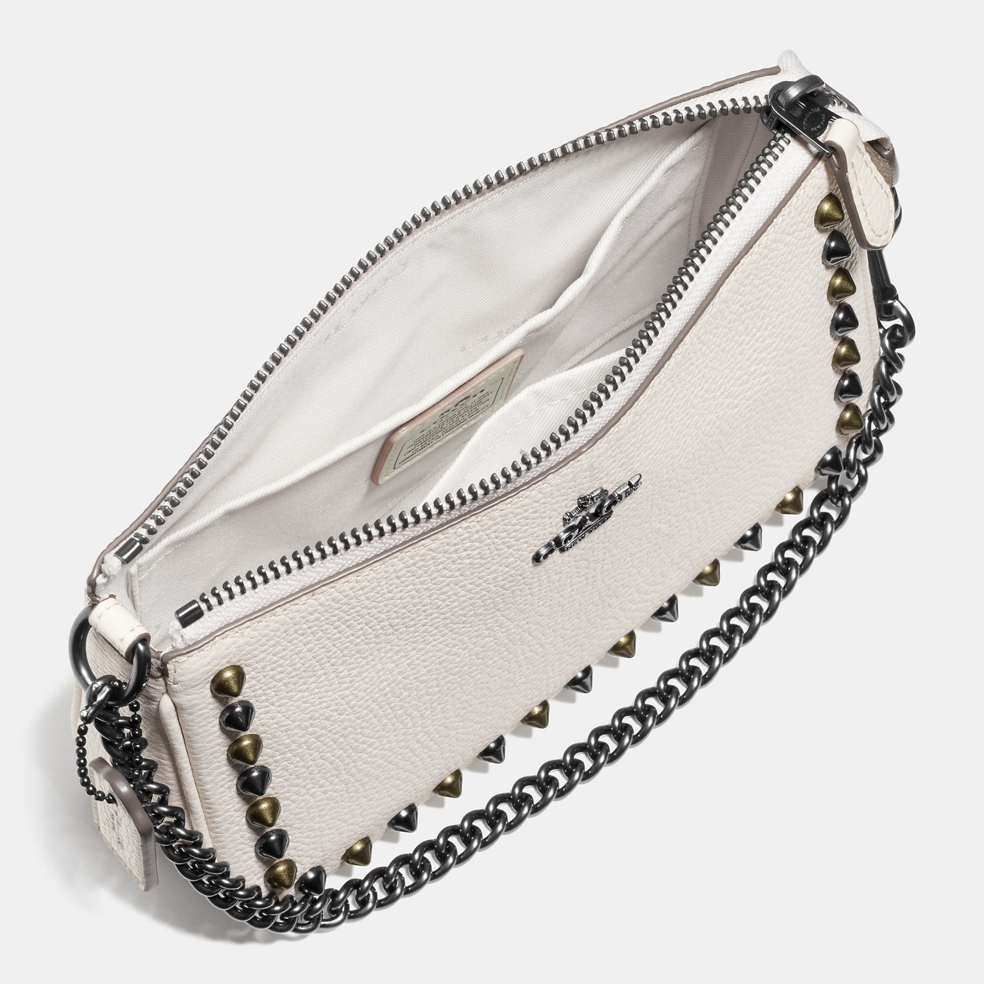 ... promo code coach outline studs nolita wristlet 19 in leather in white  lyst 491f8 f6b10 ... f9311e0f6d