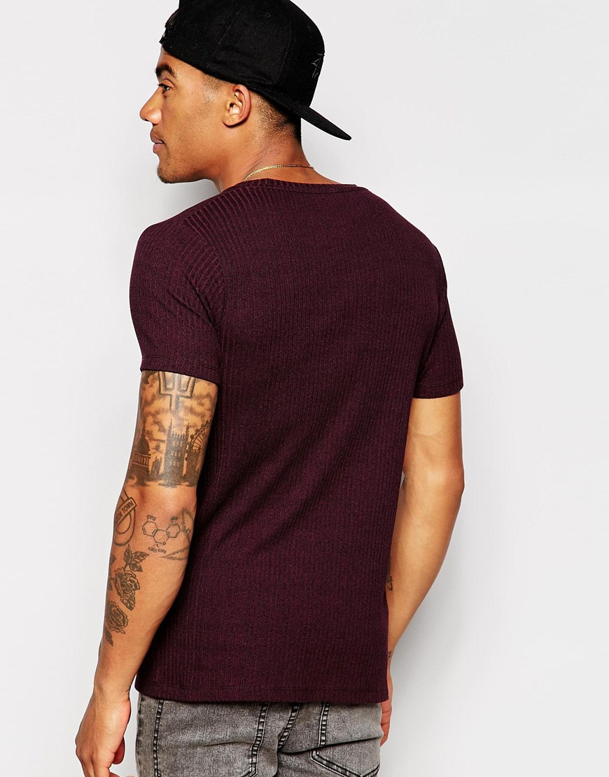 Asos Fitted Fit Rib T Shirt With Crew Neck And Stretch In