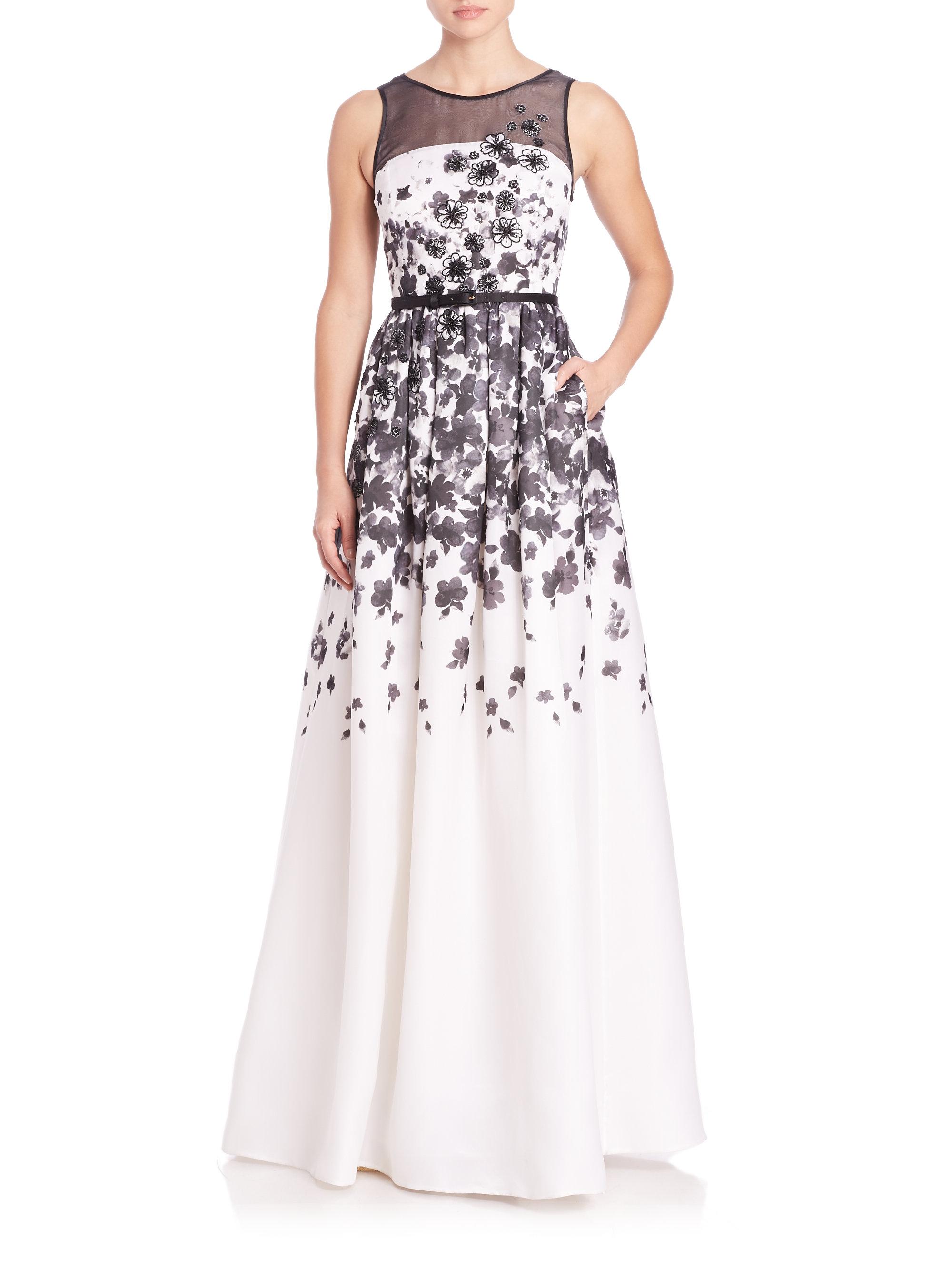 Lyst - St. John Floral Silk Organza Gown in Black