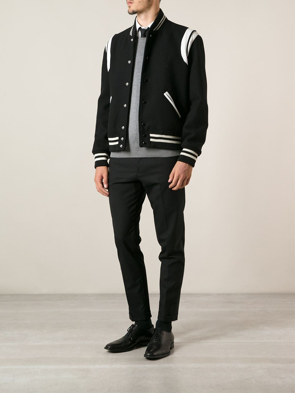 Lyst Saint Laurent Teddy Jacket In Black For Men