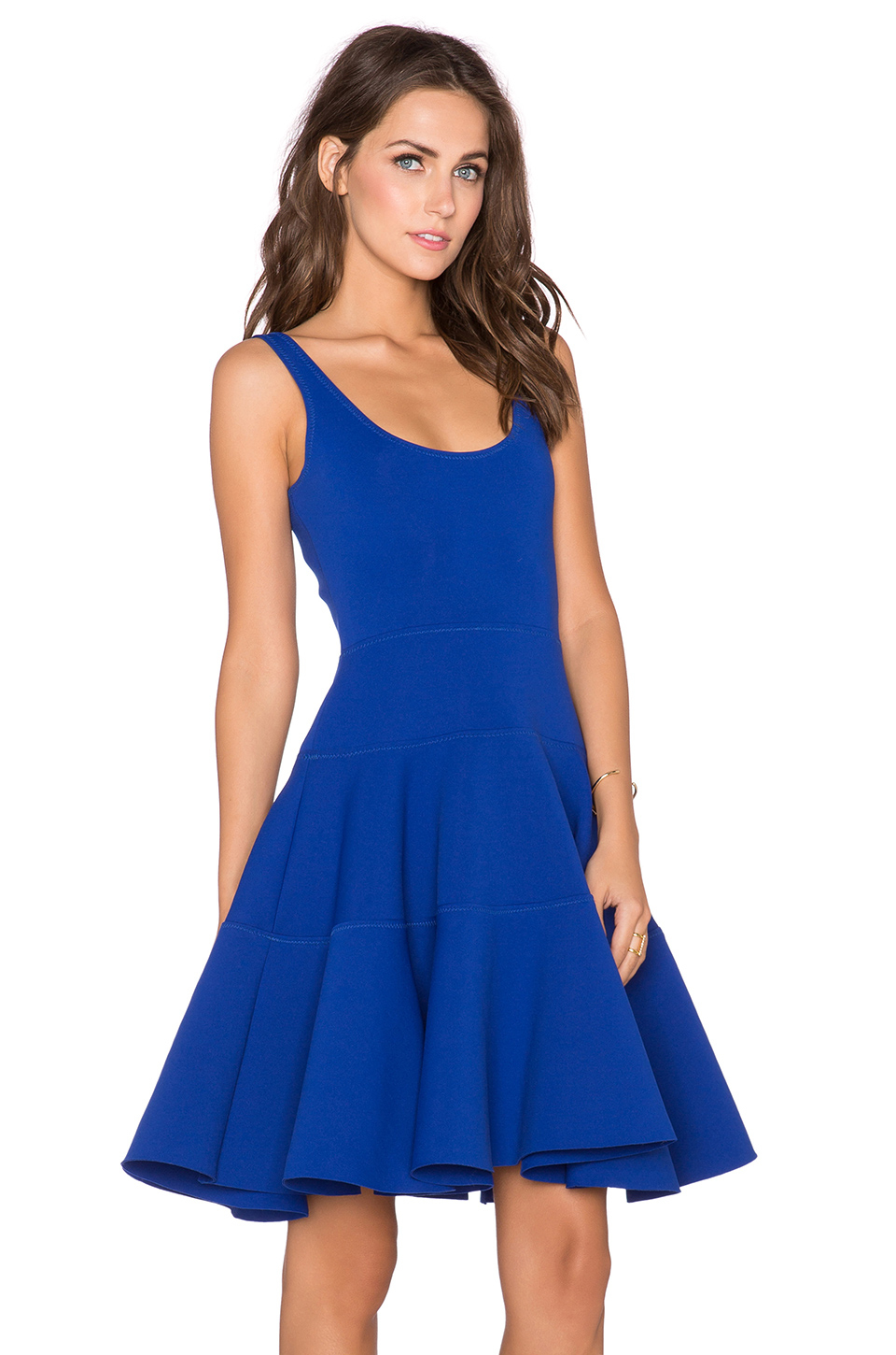 Milly Dalhia Fit Amp Flare Dress In Cobalt Blue Lyst