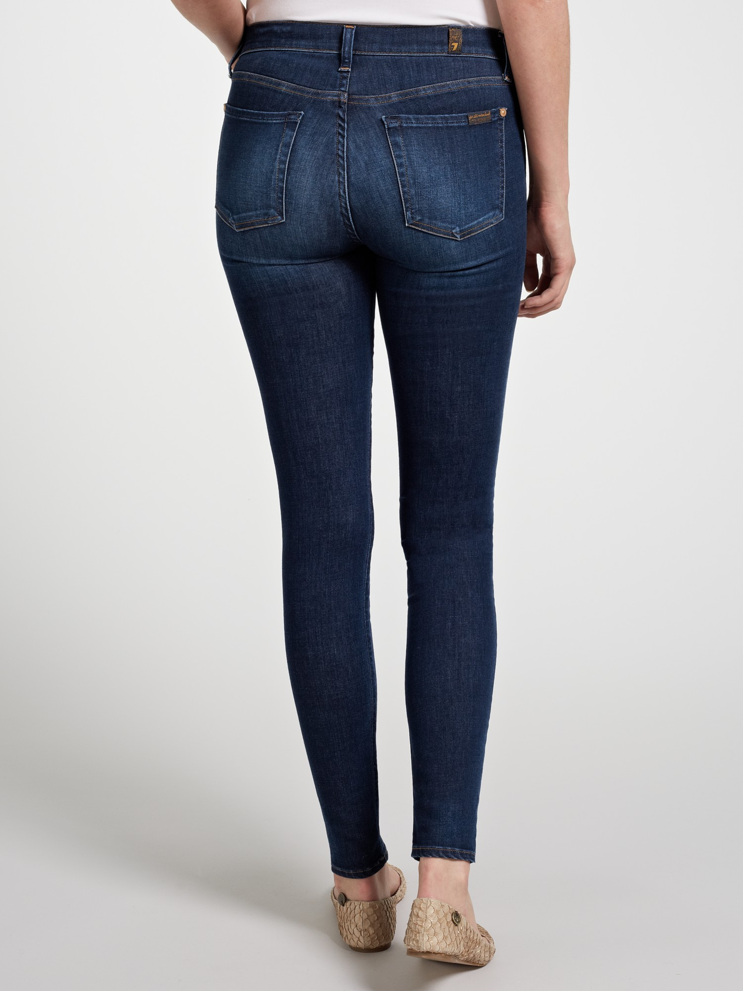 7 For All Mankind High-Waisted Skinny Jeans in Blue