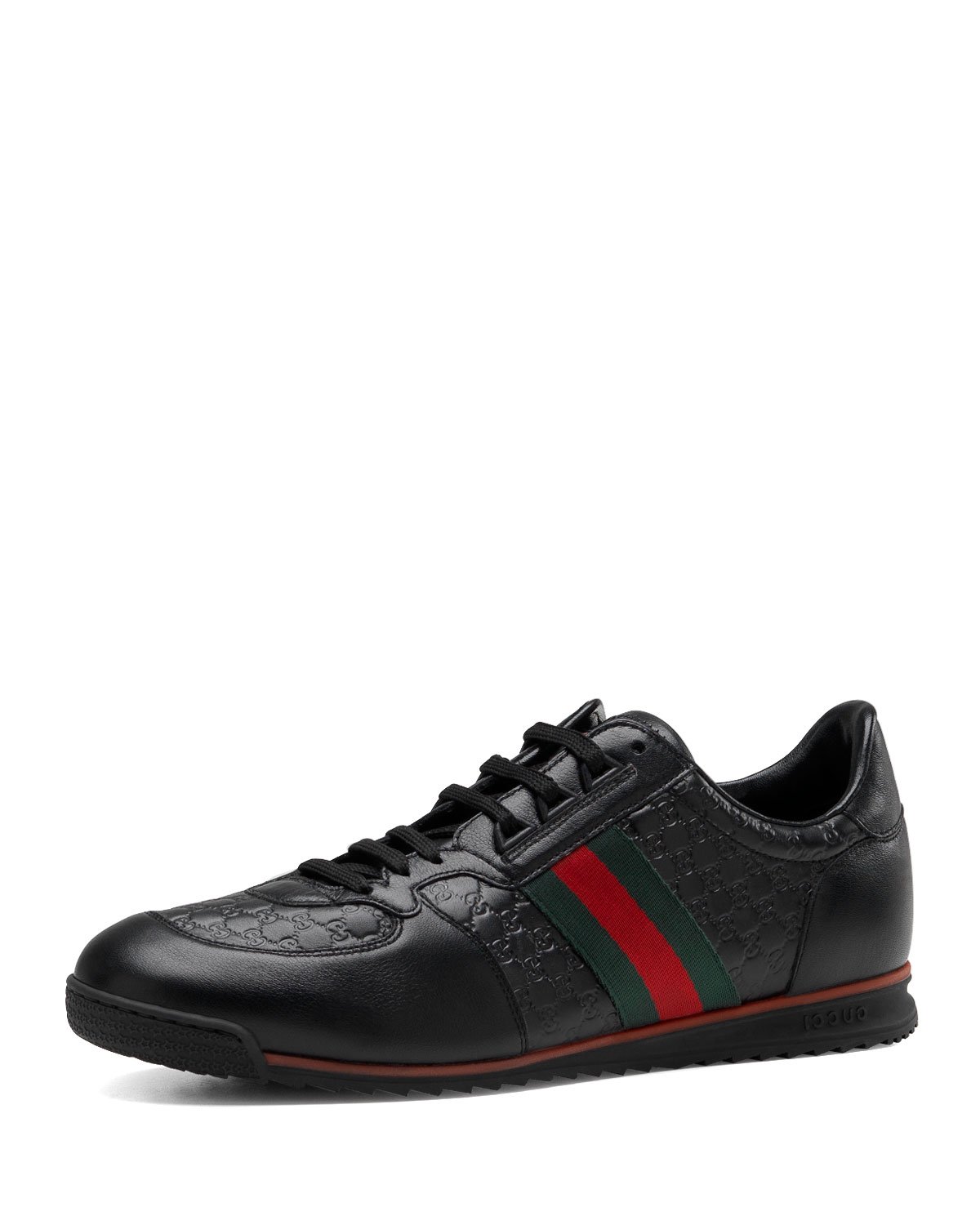 gucci sl73 lace up sneaker in black lyst. Black Bedroom Furniture Sets. Home Design Ideas