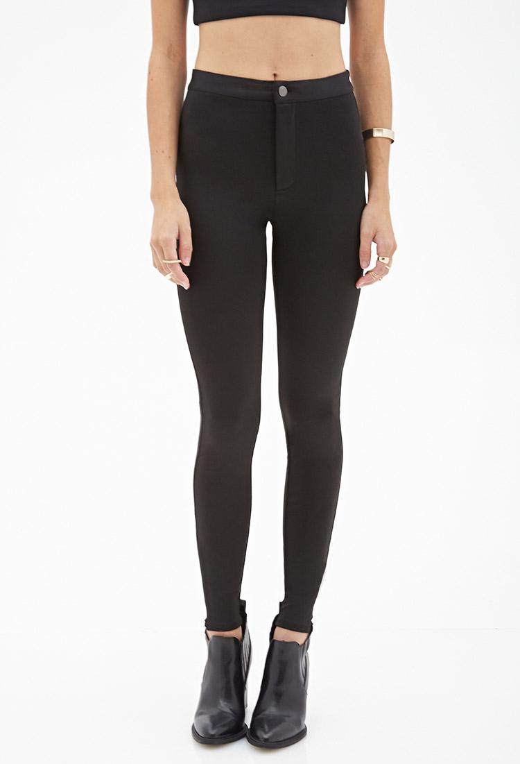 Forever 21 Zippered Skinny Pants In Black Lyst