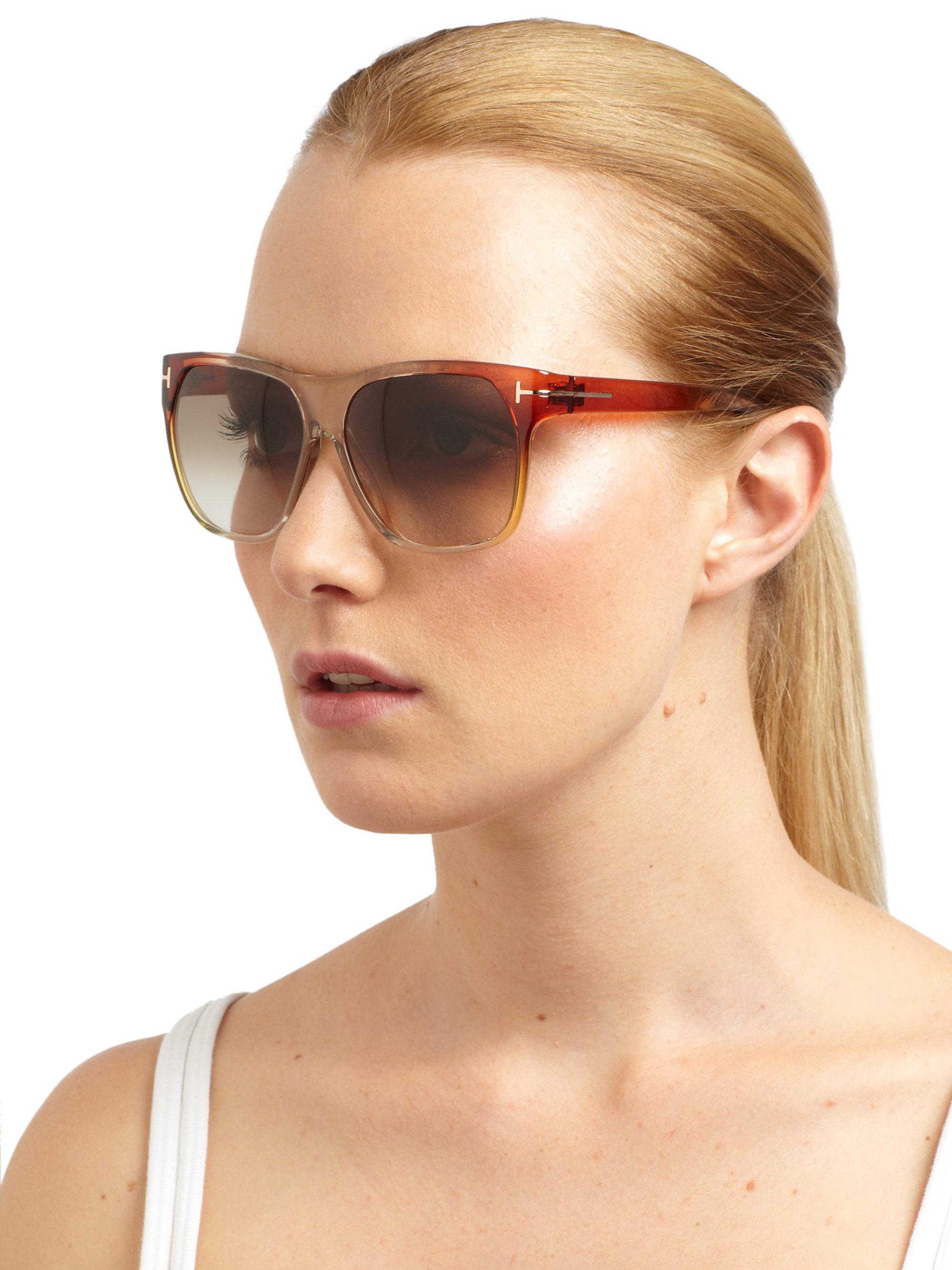 lyst tom ford frederico wayfarer sunglasses in brown. Black Bedroom Furniture Sets. Home Design Ideas