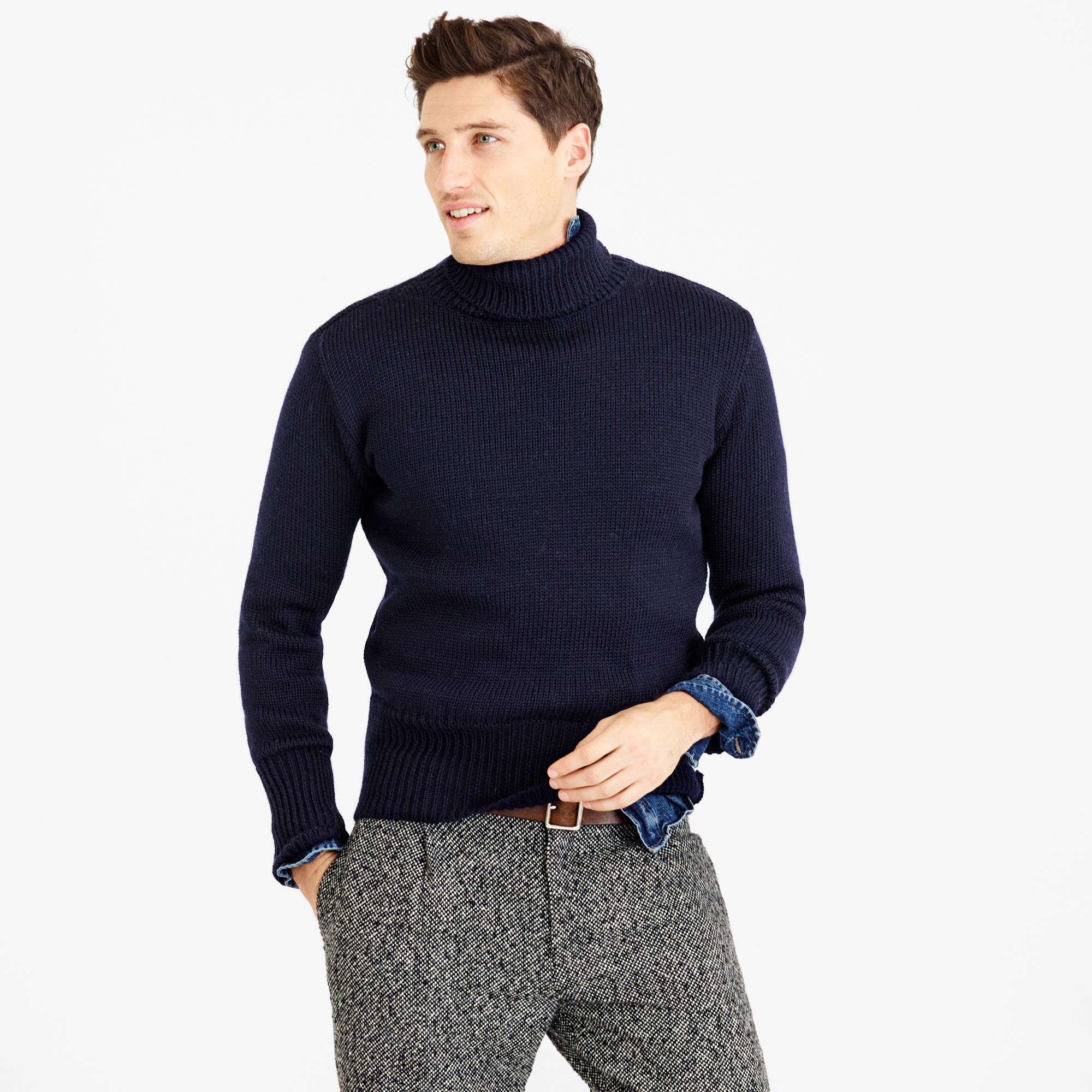 North sea clothing diver turtleneck sweater in blue for J crew mens outfits