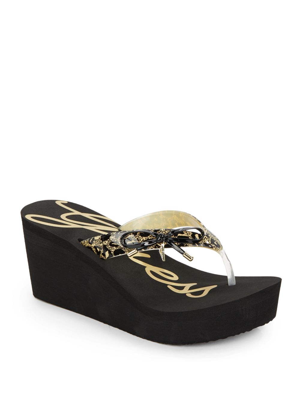 0d2121e01 Lyst - Guess Syona Leopard-Print Bow Platform Wedge Sandals in Black