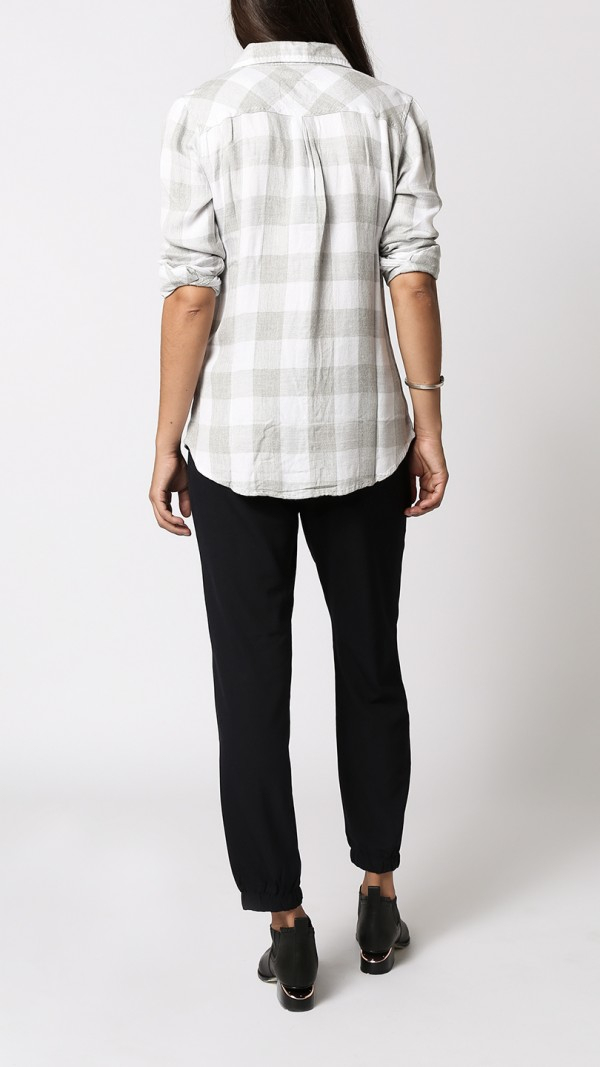 Rails hunter l s flannel shirt in white white gray for White and black flannel shirt womens