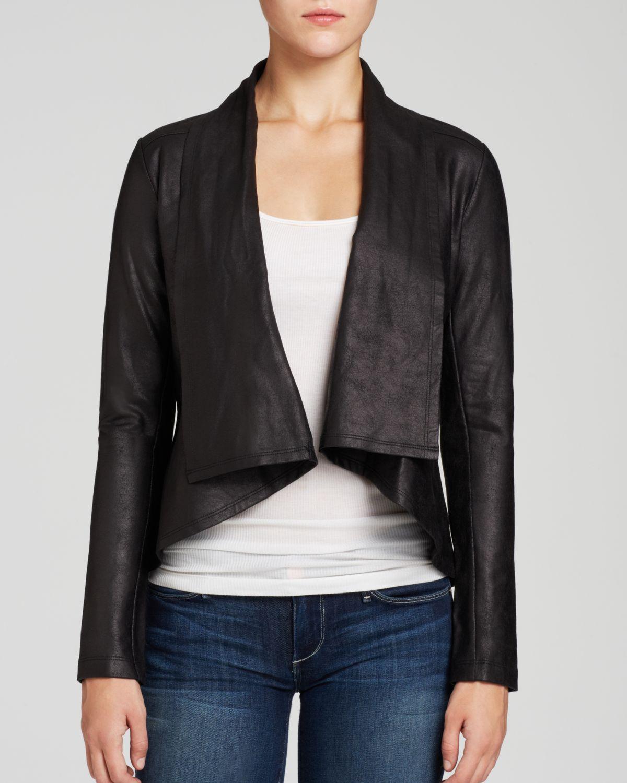 33cc165ec NYDJ Black Drape Front Faux Leather Jacket