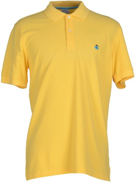 Brooks brothers yellow polo shirt for men lyst Brooks brothers shirt size guide