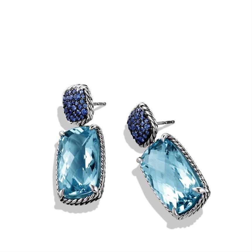 David Yurman Chatelaine Drop Earrings With Blue Topaz Blue