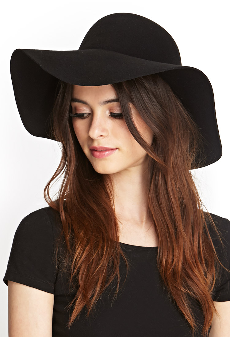 Lyst - Forever 21 Classic Wool Floppy Hat in Black 74b5809c908