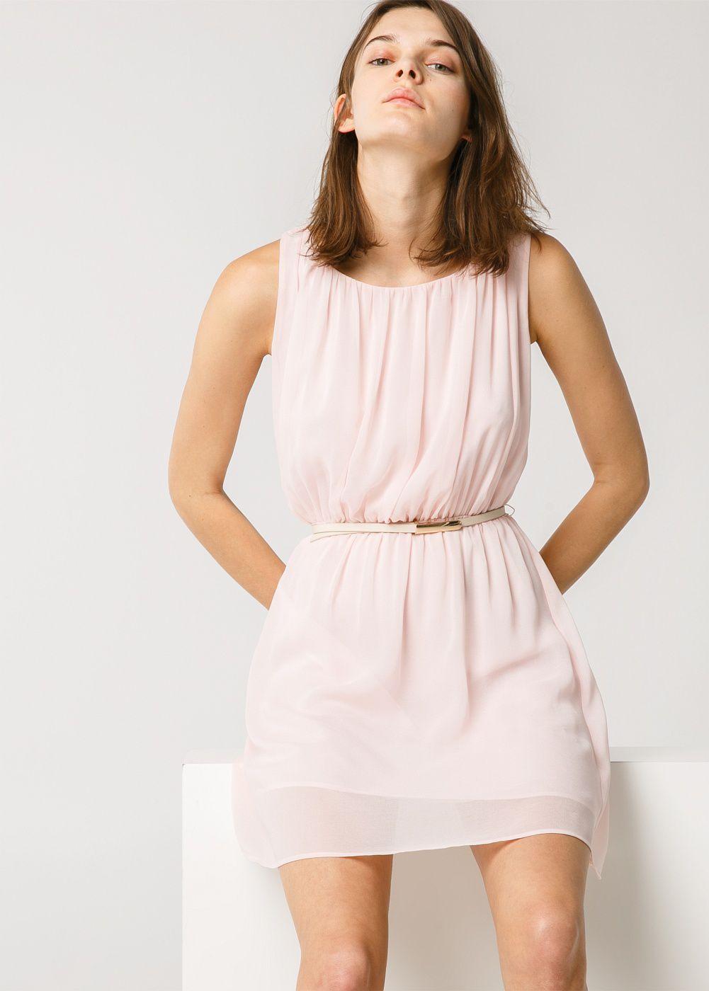 Mango pleated flowy dress in pink lyst gallery ombrellifo Gallery