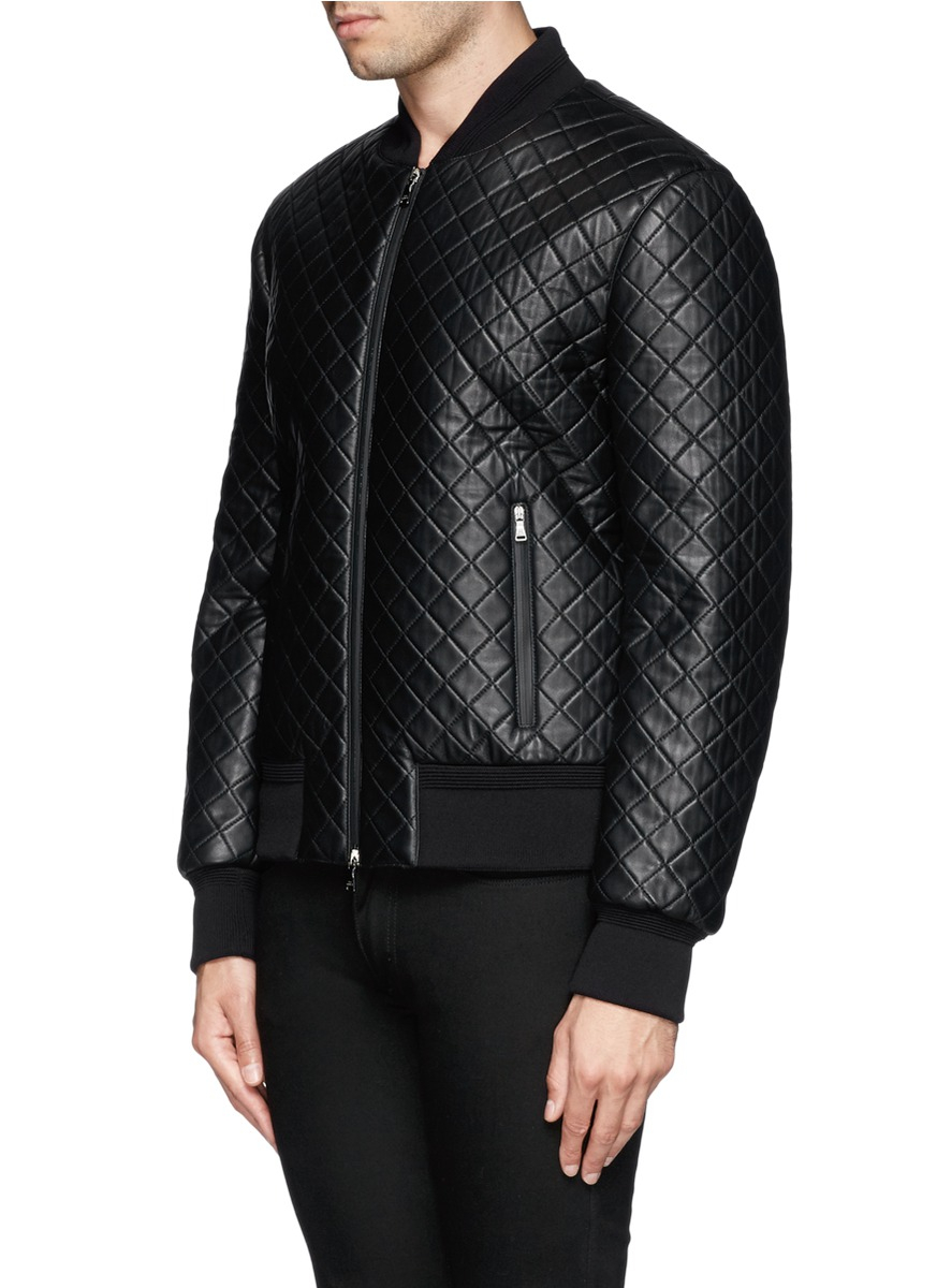 lyst neil barrett quilted leather bomber jacket in black