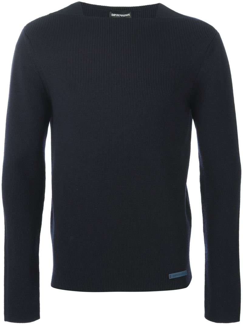 lyst emporio armani square neck sweater in blue for men. Black Bedroom Furniture Sets. Home Design Ideas