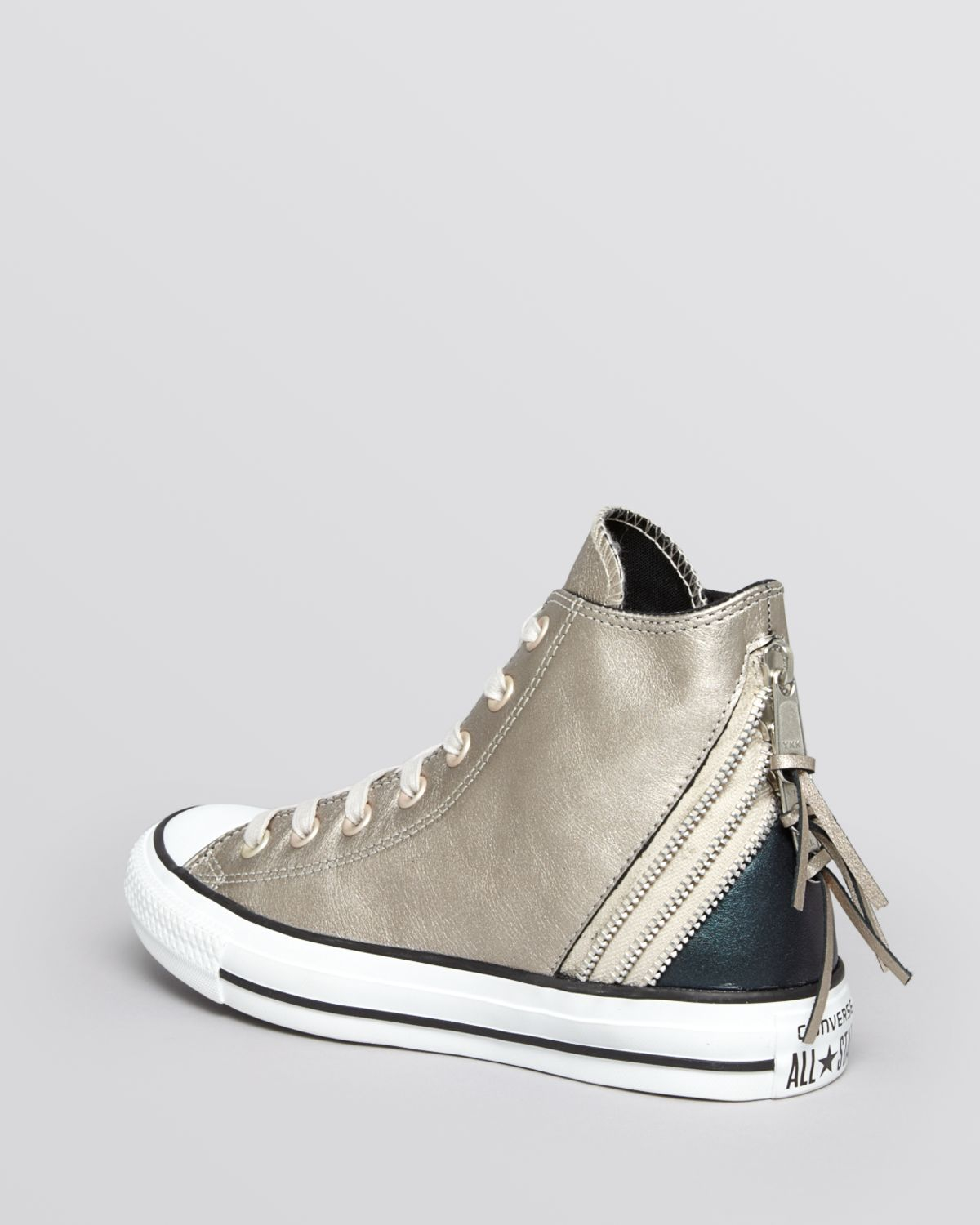 Converse Lace Up High Top Sneakers Tri Zip Metallic In
