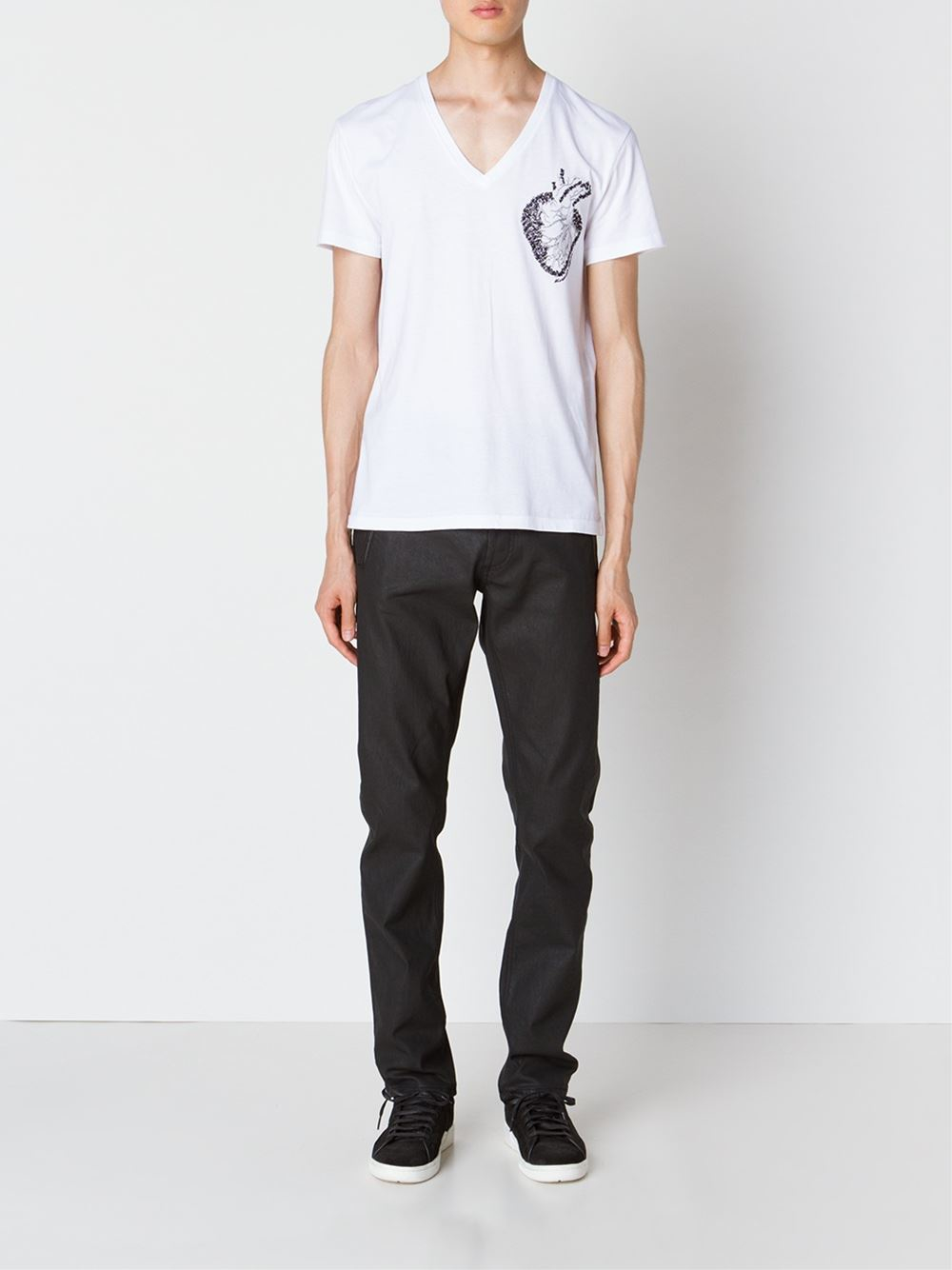 Alexander mcqueen embroidered heart t shirt in white for for Alexander mcqueen shirt men