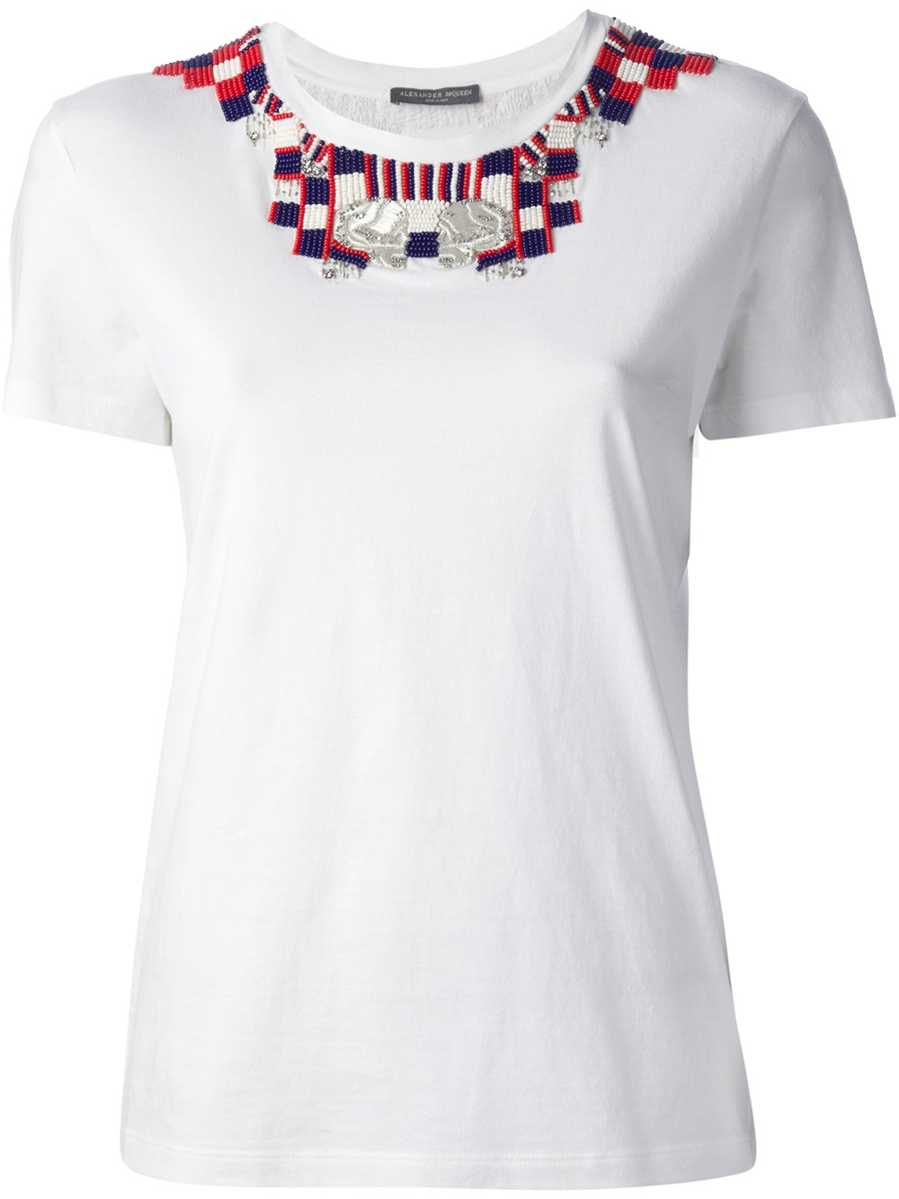 Alexander mcqueen bead embroidery t shirt in white lyst