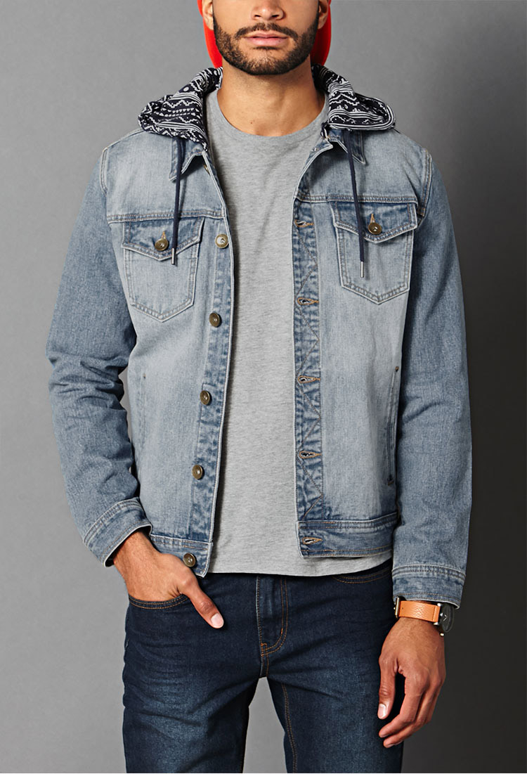 Forever 21 Print Hooded Denim Jacket in Blue for Men | Lyst