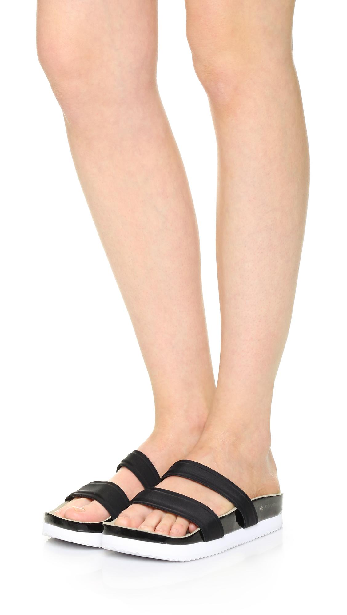 2326c31c845c Adidas By Stella Mccartney Diadophis Slide Sandals in Black - Lyst