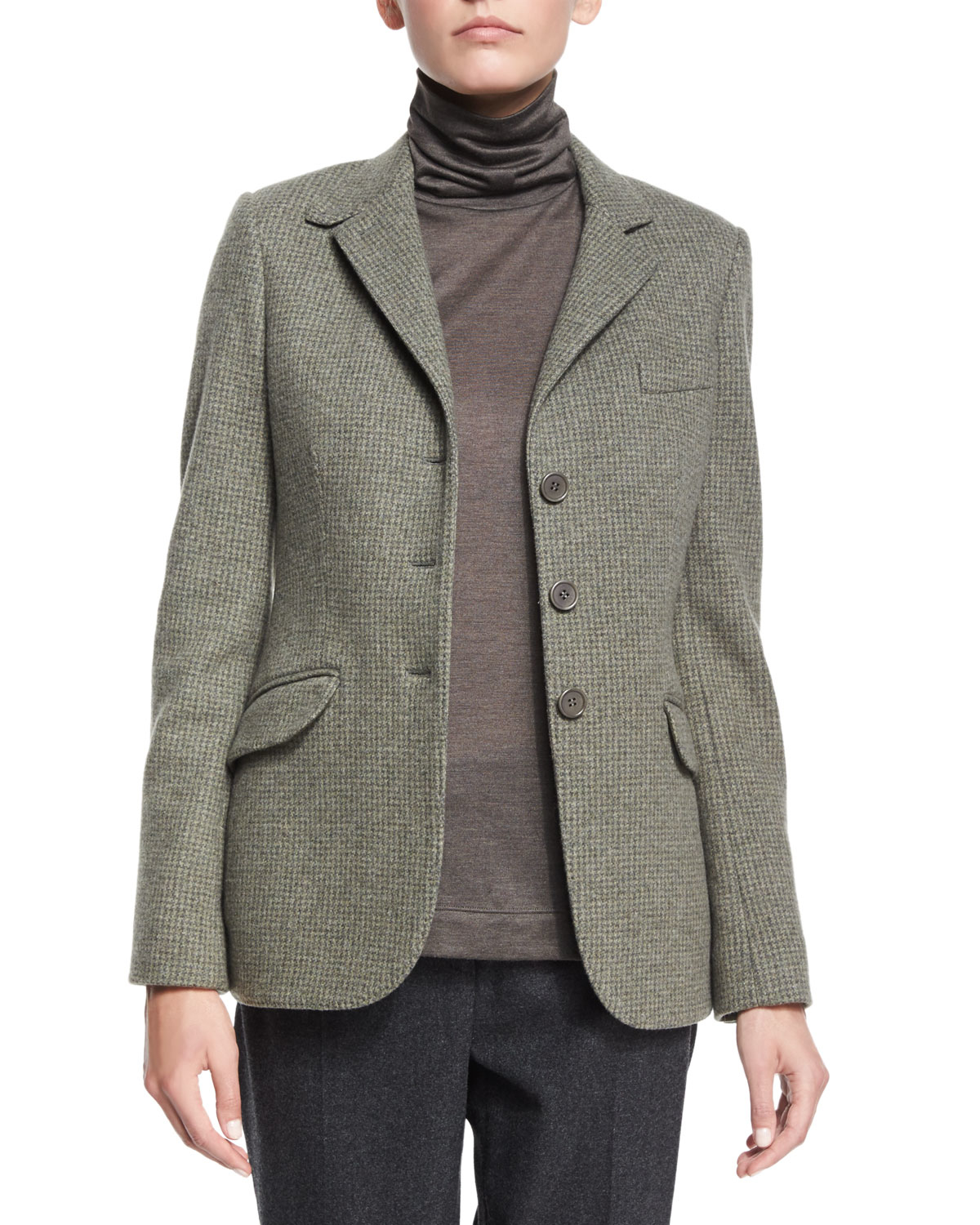 Loro Piana Mini Houndstooth Cashmere Blend Jacket In Gray
