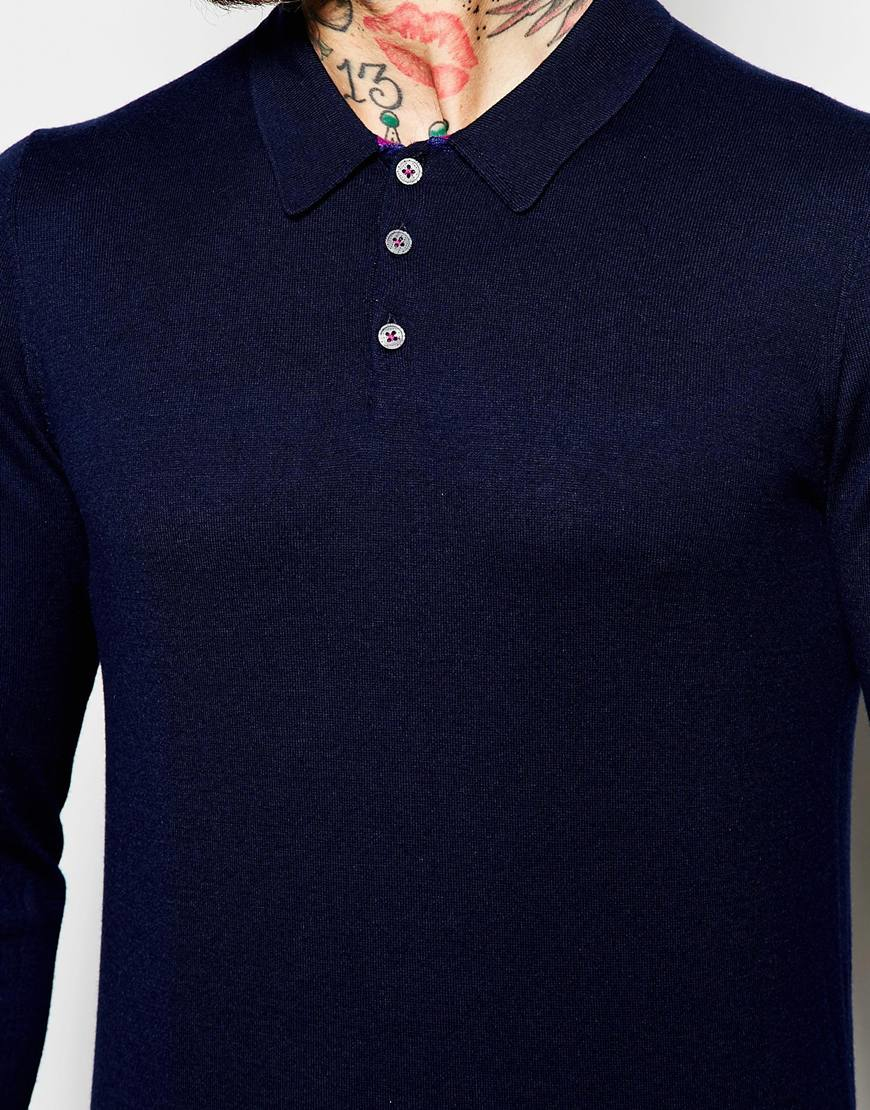 Ted baker long sleeve knitted polo shirt in blue for men for Ted baker mens polo shirts