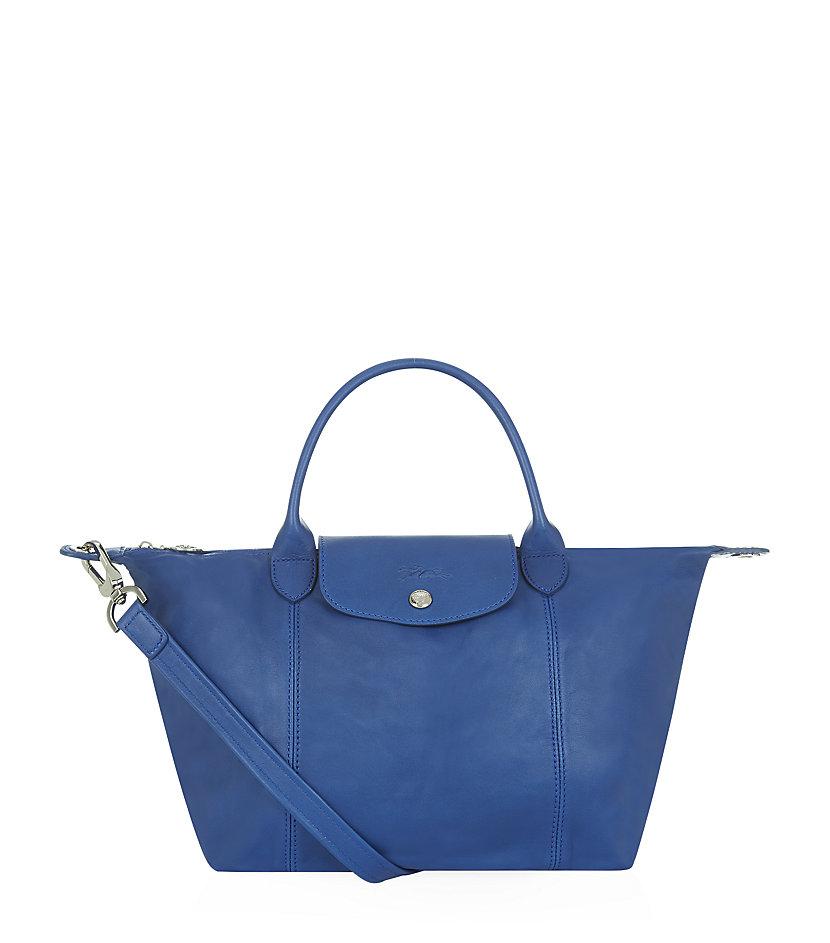 Longchamp Le Pliage Cuir Small Handbag In Blue Lyst