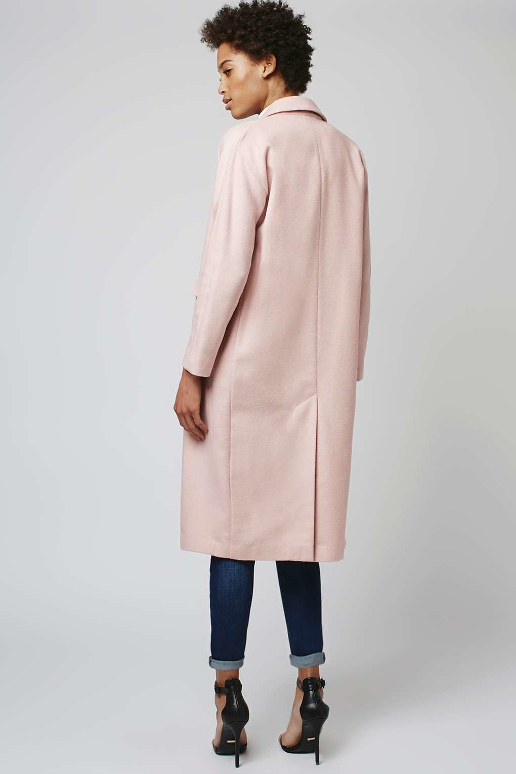 Topshop Longline Slouch Fit Coat in Pink | Lyst