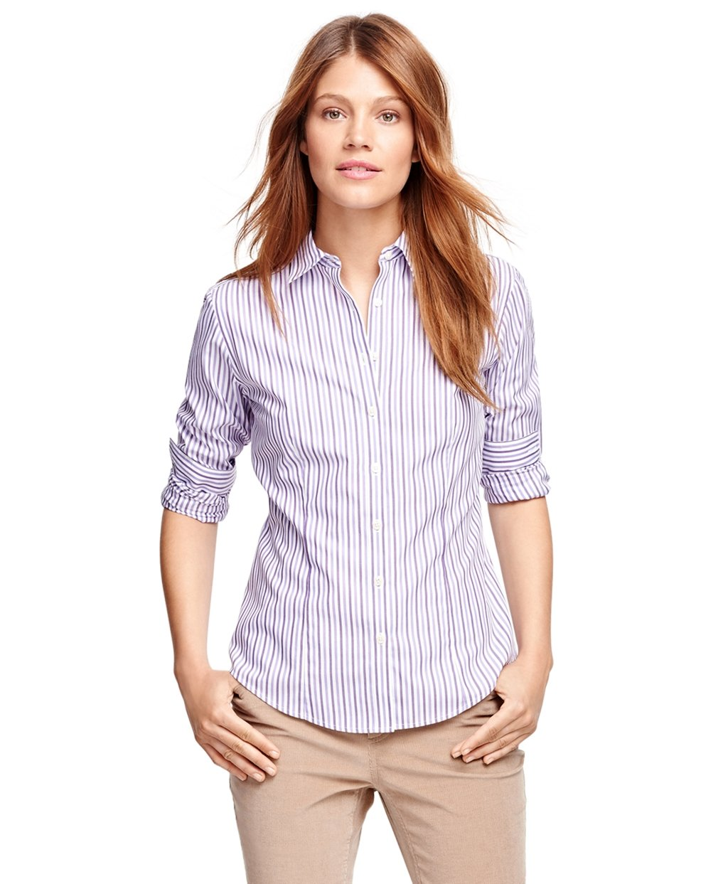 Brooks brothers non iron fitted supima cotton stripe for Supima cotton dress shirts