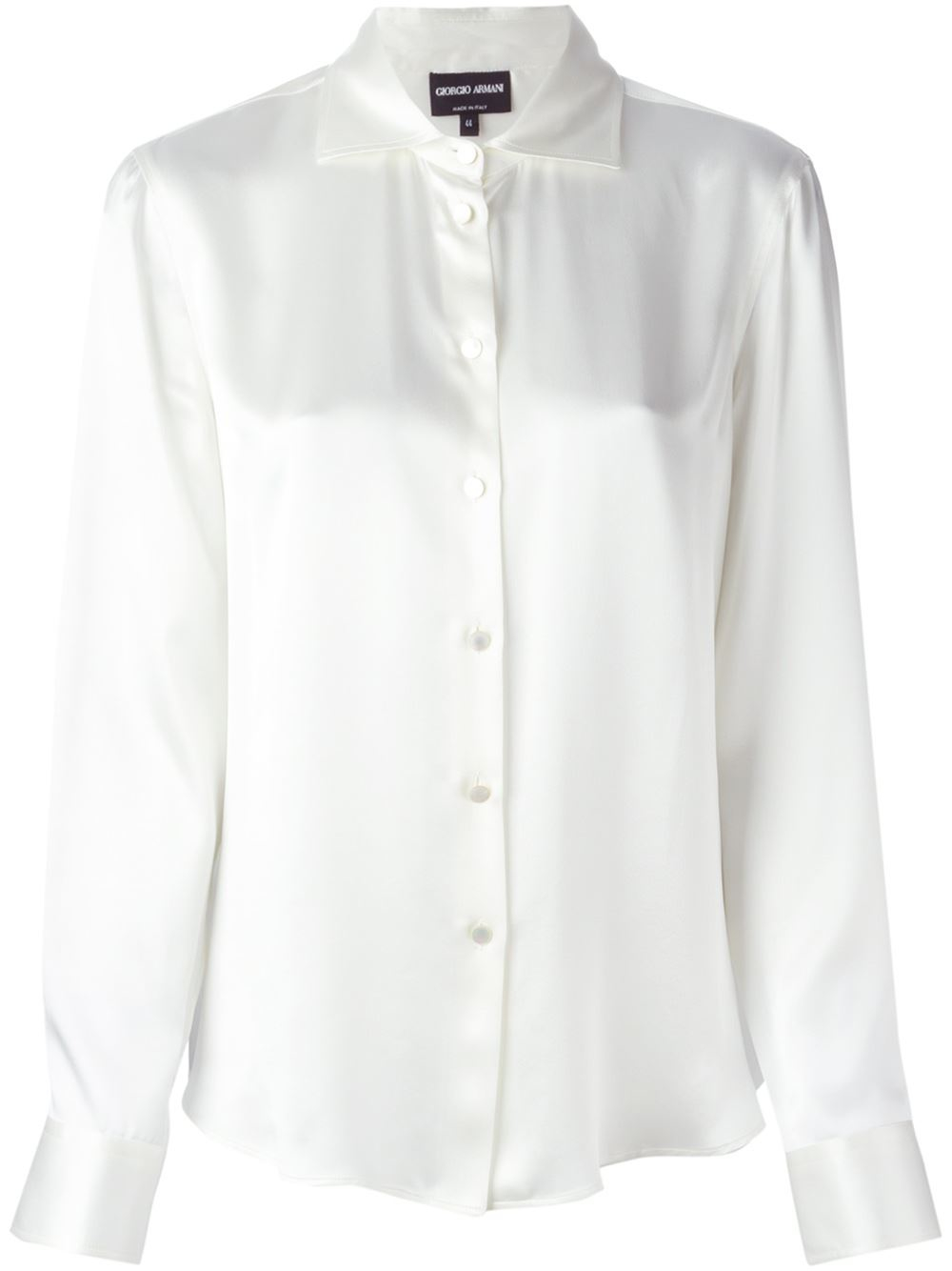 Giorgio armani spread collar shirt in white lyst for What is a spread collar shirt